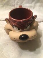 1992 TAZ TAZMANIAN DEVIL PLASTIC 3D COFFEE MUG LOONEY TUNES CUP