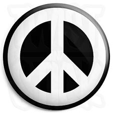 Peace Symbol - White - 25mm Button Badge - CND Logo - Hippie Love Sign