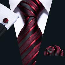 Silk Tie for Men Necktie Wine Red Burgundy Black Stripes Classic Tie Set Wedding