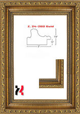 """Picture Frame Gold Ornate 2"""" Wide Solid Wood Size 16""""X20"""" Glass backing hanger"""