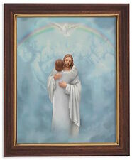 JESUS THE REUNION  Print in woodtone frame w glass Joining Jesus in Heaven