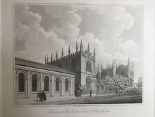 1817 Antique Print; Libraries, Schools from Exeter College, Oxford after Skelton