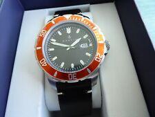 Nautis Dive Pro 200 GL1909 45 mm Orange Bezel Black Dial w Black Leather RP $175