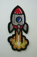Retro Rocket Iron-on Patch Blast Off Nasa Space Ship Applique Vintage Style Nerd
