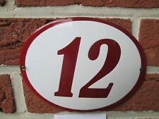 Hausnummer Oval Emaille bordeaux   Nr. 12  weißer Hintergrund 19 cm x 15 cm