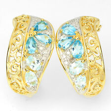 BOLD ChunKY Natural SWISS & SKY BLUE TOPAZ & DIAMOND 2 TONE 925 SILVER EARRINGS
