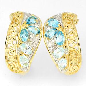 BOLD ChunKY Natural SWISS & SKY BLUE TOPAZ & DIAMOND 2 TONE 925 SILVER EARRINGS
