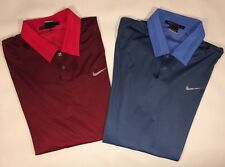 Tiger Woods Nike Dri Fit Golf Shirt Lot Of 2 Red/Blue Size Large