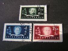 YUGOSLAVIA,SCOTT # B152-B154(3) COMPLETE SET 1948 SEMI-POSTAL ARTS ACADEMY USED
