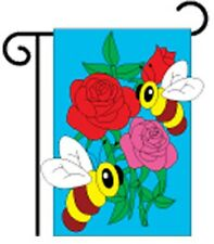 "Bumble Bees & Roses Garden Size (13"" x 18"" Approx) Flag 5- Tg 54024"