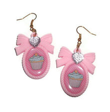 Cupcake Earrings, Pastel Pink Cameo, Kawaii Cute Kitsch Jewellery Sweet