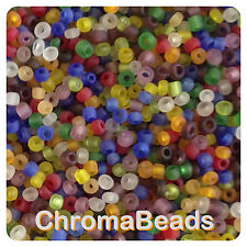 100g MIXED FROSTED glass seed beads - choose size 6/0, 8/0 or 11/0 (4, 3 or 2mm)