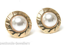 9ct Gold Pearl Round Stud earrings Made in UK Gift Boxed Studs