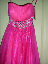 NWOT  Sean Collection Mesh & Taffeta Ball Gown SZ 2 Fuchsia