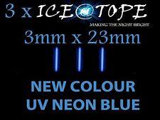 3 X GHIACCIO UV NEON BLU ice@tope Pesca della Carpa 3mm x 23mm piena potenza max ISOTOPI