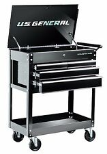 Roller Cart Tool Cabinet Storage Chest Box Glossy Black 4 Drawer 580 Lb Capacity