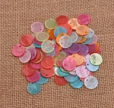 Wholesale 50Pcs Mussel Shell Flat Round Coin Charm Beads 13MM 15MM 18MM