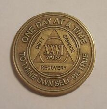 aa new alcoholic anonymous bronze 26 year recovery sobriety coin token medallion
