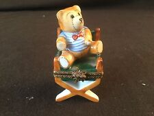 LIMOGES HAND PAINTED BLUE STRIPE TEDDY BEAR DIRECTORS CHAIR TRINKET BOX HINGED