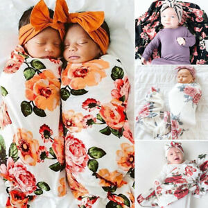 2PCS 0-2M Newborn Baby Boy Girl Floral Swaddle Hat Sleeping Bag Blanket Wrap Set