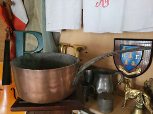 Vintage - Copper Saucepan - Cast Iron Metal Handle - 20.5cm x 10.5cm - 1294g