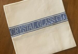 Thomas Ferguson Quality Linen Crystal Glass Cloth - Blue Stripe. Ireland.