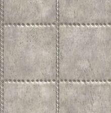 Rasch Textil Vlies Tapete Reclaimed 022343 Stahl Platte Nieten grau silber Glanz