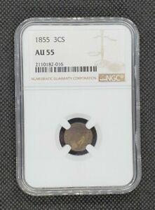 1855 3-Cent Silver | NGC AU55