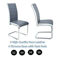 2 x Gray and White Faux Leather Dining Chairs - High Back and Chrome Legs Chair