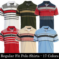 Platoon Mens Regular Fit Striped Short Sleeve Polo Shirt with Pocket - 17 Colors
