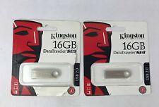 (Lot of 2) Kingston Digital DataTraveler SE9 16GB USB 2.0 Flash Pen Drive Stick
