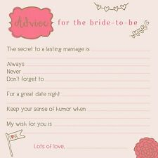 CUTE! Advice for Bride! Wedding Bridal Shower Games! 25 Well Wishes Advice Cards