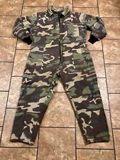 "Old School Camo Coveralls Camo Hunting Sz L Vintage Camouflage 30"" Inseam"