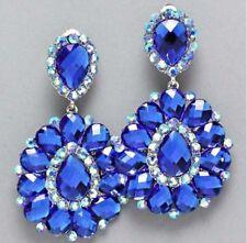 "3"" BiG Long Crystal Royal Blue Rhinestone Bridal Earrings Drag Queen CLIP ON"