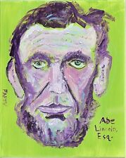 ORIGINAL Lincoln PORTRAIT Self Taught NAIVE OUTSIDER Pappy Expressionism FOLK