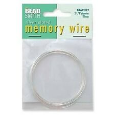 Silver plated memory wire, bracelet, by Beadsmith, 12 loops