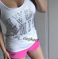 Victoria Secret Love Pink Bling Graphic Tank Top Terry Sequin Dog Shorts Set S