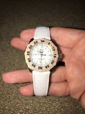 LADIES ROXY WHITE WATCH WATER RESISTANT TO 330 FEET LEATHER BAND (SD)