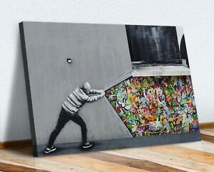 BANKSY WHATS BEHIND THE CURTAIN WHATSON CANVAS WALL ART PRINT ARTWORK GRAFFITI