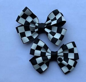 Lot 2 Black & White Checkered Flag Nascar Dainty Pigtail Hair Bows Set Baby