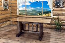 Farmhouse Style Dining Room Table Amish Made Rustic Trestle Tables 6 Ft  Stained