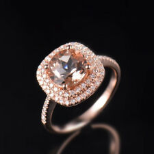 Natural Diamond Round Pink Morganite Halo Engagement Ring Solid 14K Rose Gold