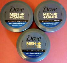 Dove Men + Care LOT OF 3 Ultra Hydra Cream Face Hands and Body 2.53 fl oz  BOX78