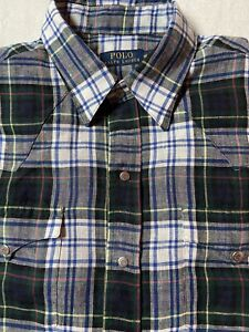 Ralph Lauren Polo plaid western snap linen button down shirt sz Medium Rare NWOT