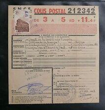 FRANCE COLIS POSTAUX 1943 N° 204 Oblitéré SUR RECEPISSE - CROIX-ROUGE - TBE