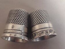 Lot of 2 Vintage Sterling Silver Thimbles Size 9 & 3 Mid 20th Century