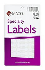 MACO White Large Dumbbell Labels, 1-7/8 x 1/2 Inches, 500 Per Box (DB-200)