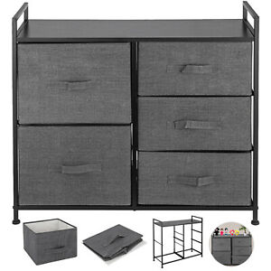 Fabric 5-Drawer Dresser and Storage Organizer Unit for Bedroom, Dorm
