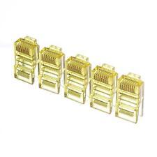 20pcs color Netrack plugs RJ45 8p8c yellow transparent UTP for solid cable cat5e