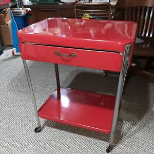 Vintage Red Cosco Style 2 Shelf 1 Drawer Metal Rolling Kitchen Utility Cart
